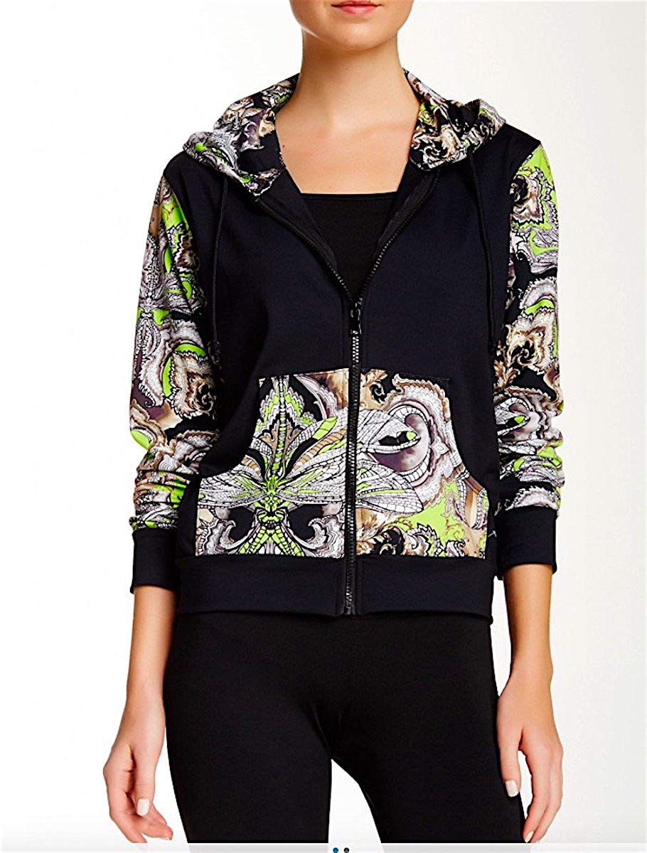Gottex Women Printed Full Zip Long Sleeve Hoodie Sweater Pullover