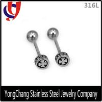 Free samples barbell piercing stainless steel cross designs tongue bars rings
