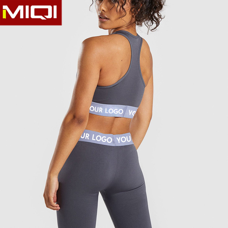 Custom Jacquard Band Logo <strong>Sports</strong> Sets Women Two Piece Set Yoga Pants And Bra Set