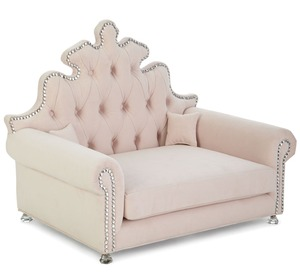 "Isabella Blush tufted Dog Bed with crystal tacks includes two 5"" pillows accent chair"