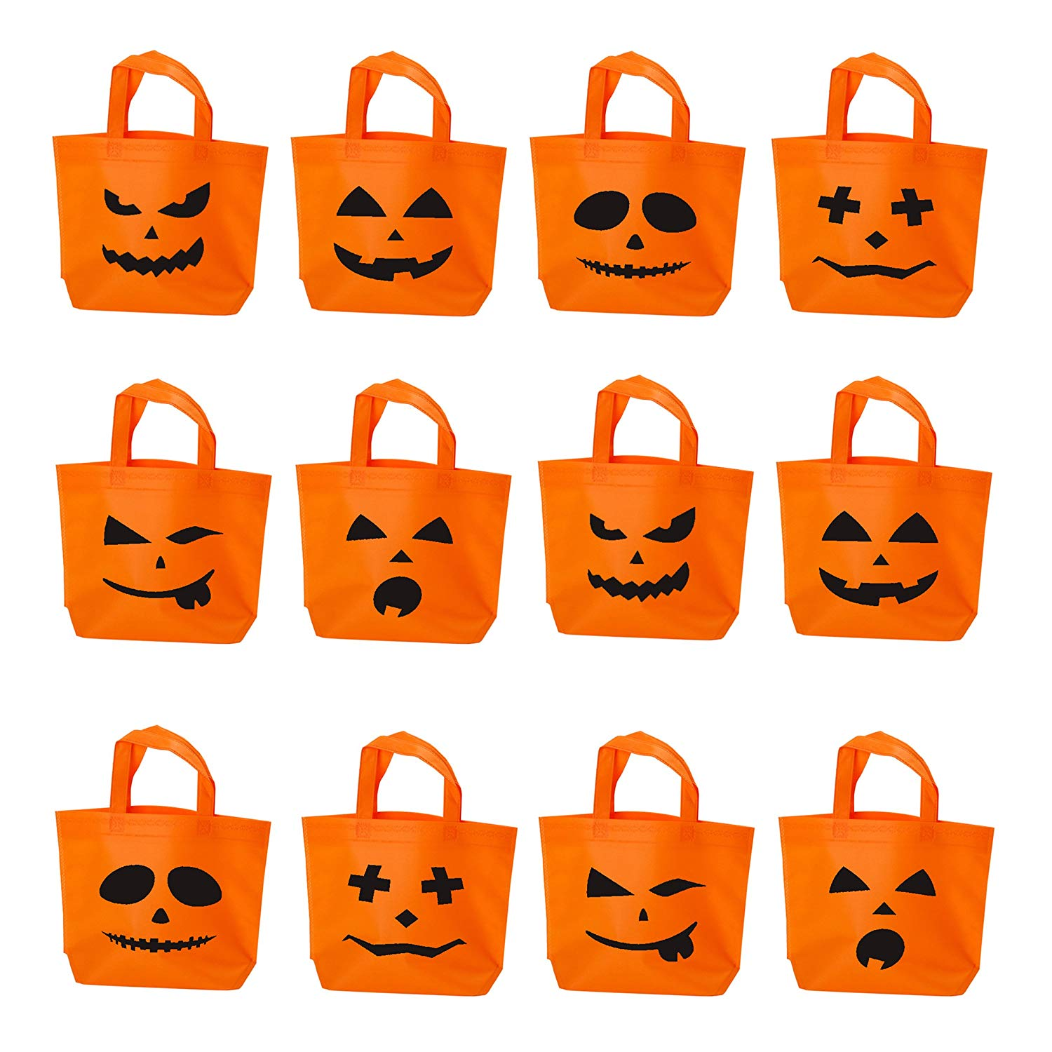 Halloween Trick or Treat Candy Tote Bags | Pumpkin Face Jack O Lantern Kids Goodie Handy Bag with Handle, for Costume, Sweets, Decorations, Party Favors - Set of 12