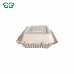 100% biodegradable disposable paper bagasse 3 compartment clamshell box