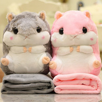 Cute Plush Hamster Animals Pillow Toys With Folding Air Conditioning Blanket