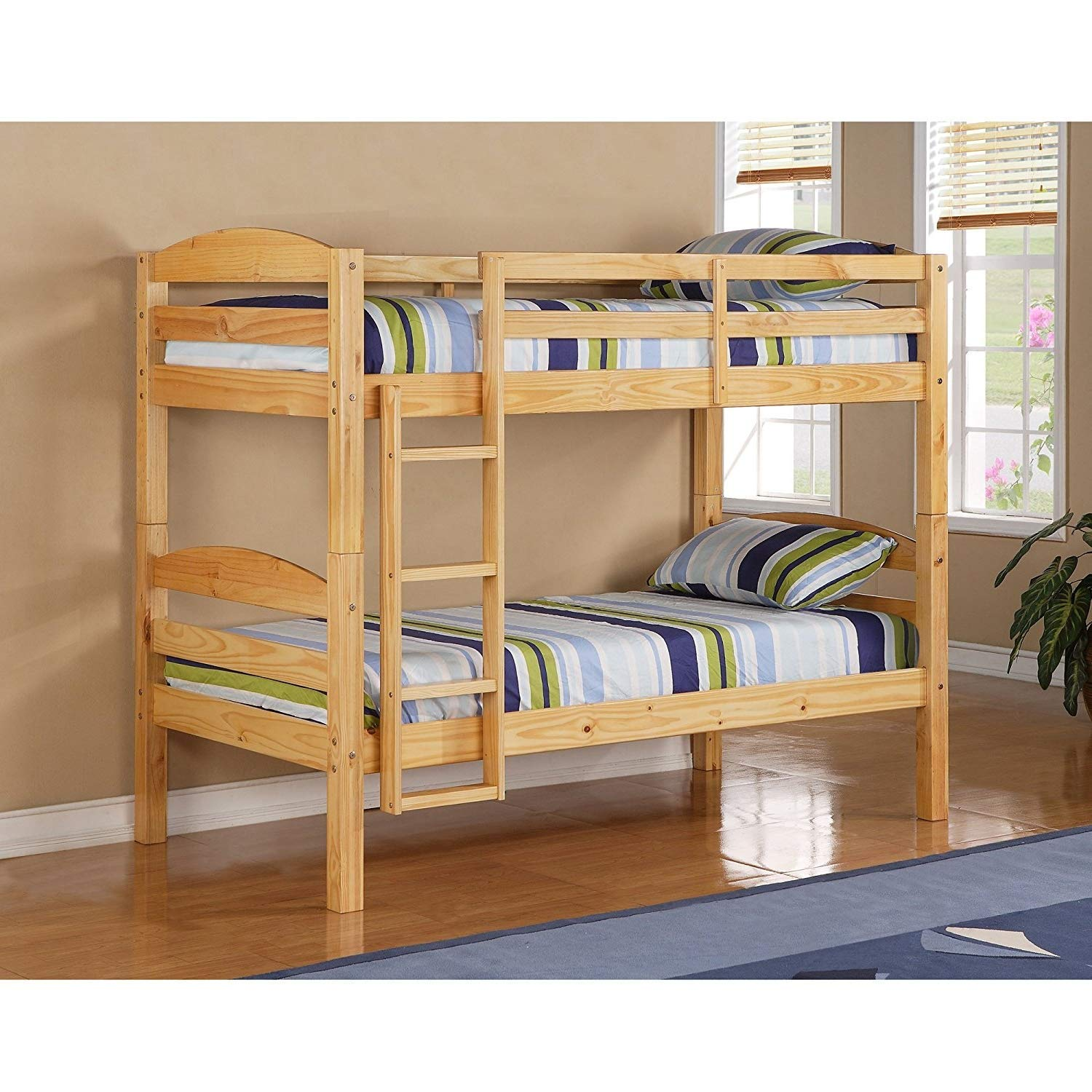 Bunk Beds for Kids Toddler Twin Over Twin Wood Natural Your Child Will Sleep in Style and Great Solution for Your Space Saving Needs by HomeTeks