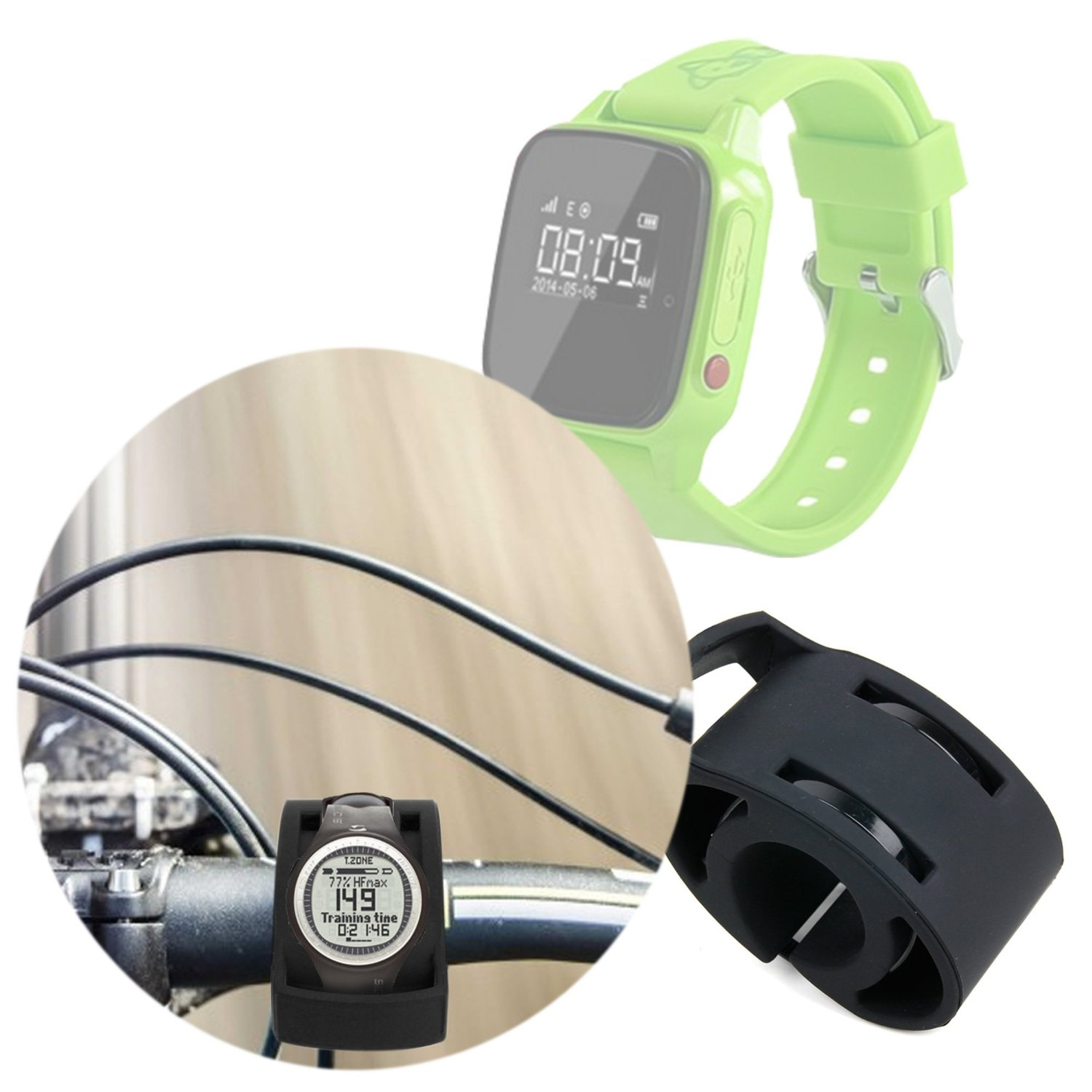 DURAGADGET Black Bicycle Handlebar Mount Kit for NEW Haier SOS Connected Smartwatch - Secured with Strong Cable Ties