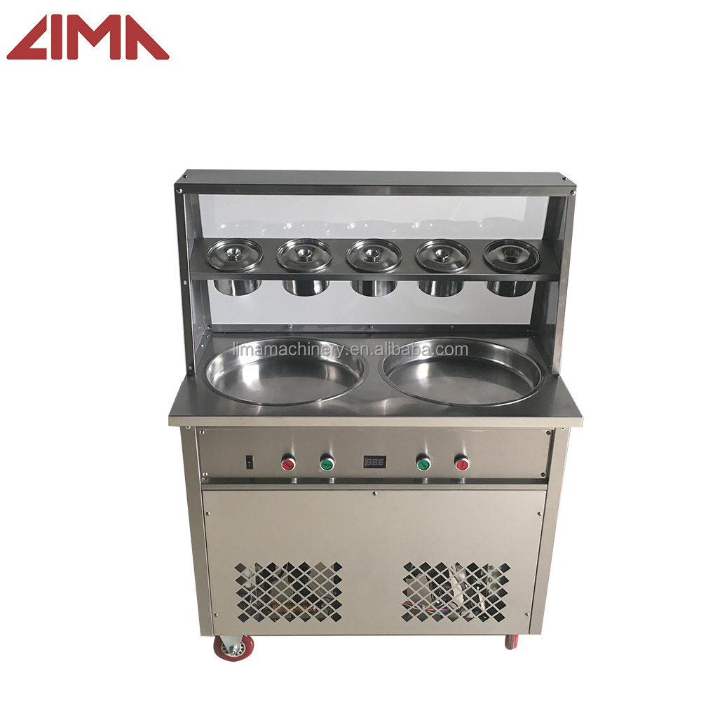 2017 Commercial Thailand rolled fried ice cream machine price with 2 pans