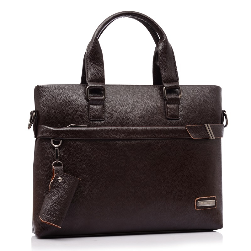 2015 new designer bag  Fashion high quality men's briefcase  Men's leather handbags  Black and brown Laptop bag Gift Key Holder