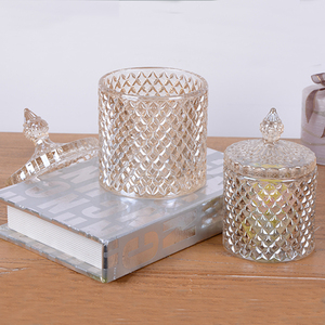 Hand Made wholesale heat resistant frosted glass candle jar with lid