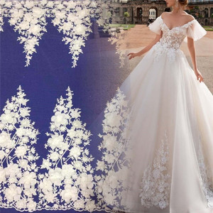 Newest designs white beaded 3D flower net mesh embroidery Lace fabric with beads for bridal wedding dress