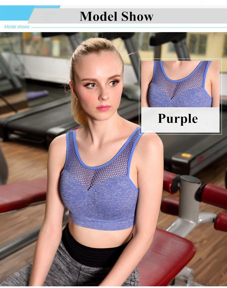 Sexy Back Buttons Mesh Sports Bra Professional Shock proof Underwired Fitness and Yoga Underwear Gather Tank top Bra