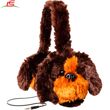 cute Head-mounted brown pet dog head set plush headset
