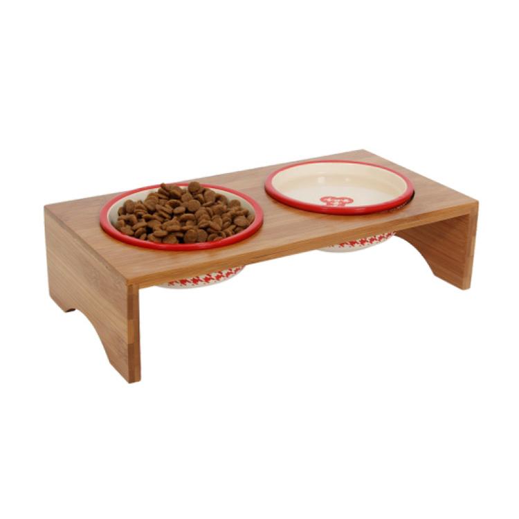 Petstar Custom Adjustable High QualityEnvironmental Protection Bamboo Dog Bowl