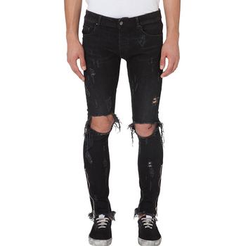 d368958d 2019 popular mens black spray on skinny stretch ripped denim jeans men  zipped distressed fabrics jeans
