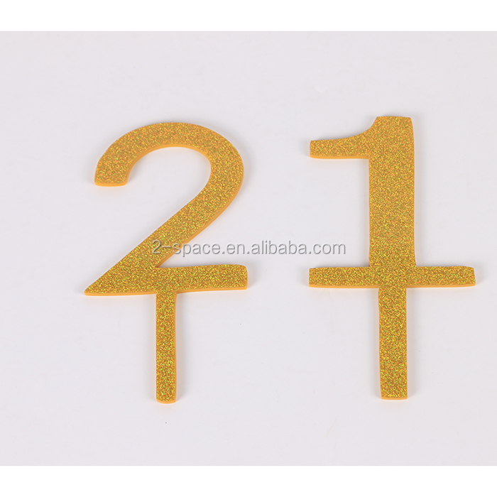 Laser Cut Acrylic Personlized Glitter Gold Twenty One Anniversary Birthday Cake Toppers