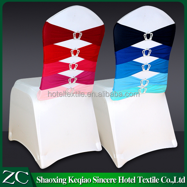 wholesale lycra chair sash for wedding with crown buckle chair covers wedding decoration