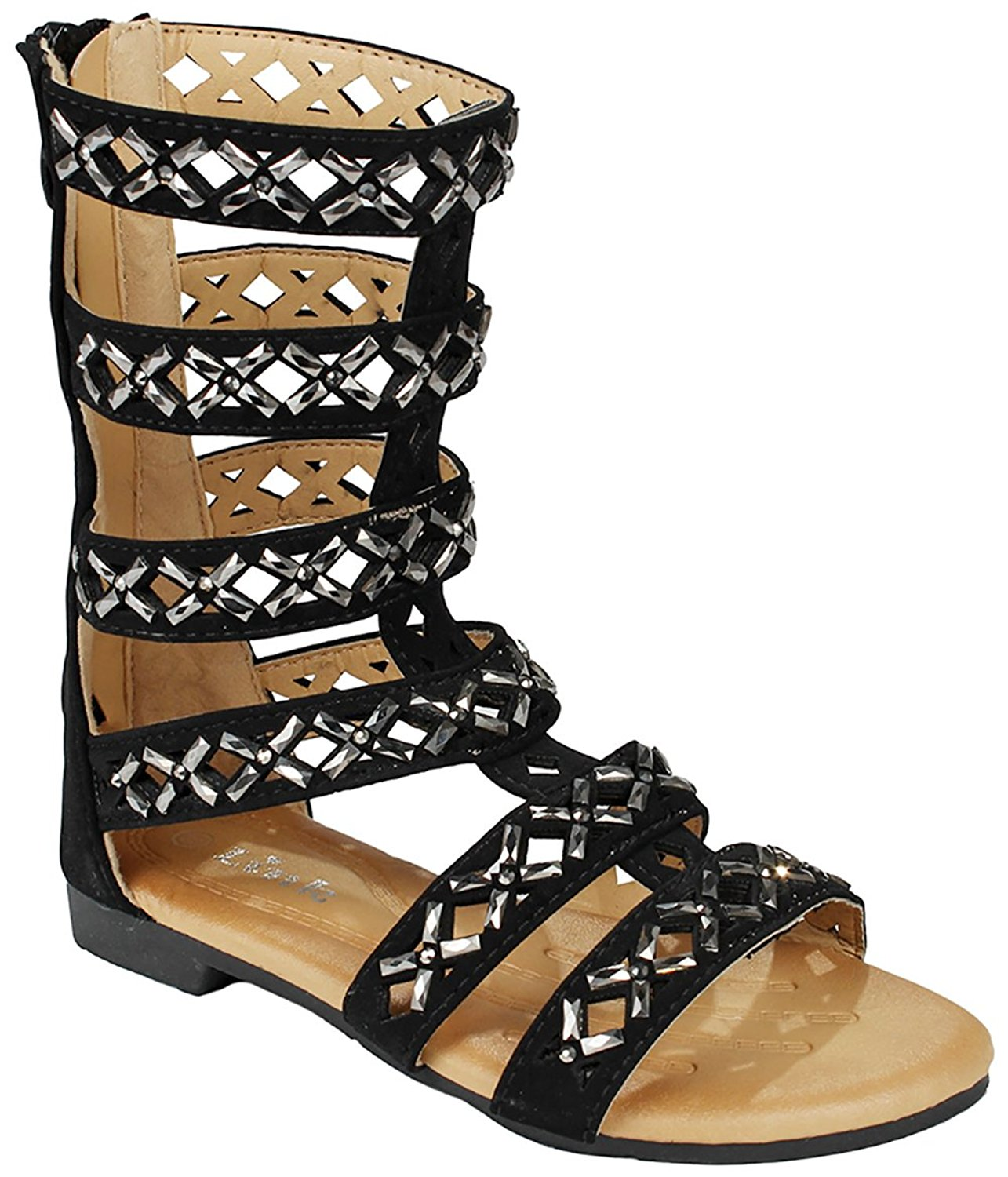 J.J.F Shoes Girls Kids Cut Out Rhinestone Gladiator Strappy Dress Sandals