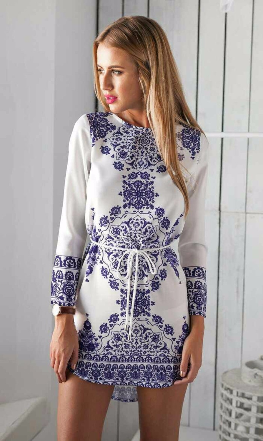 2016 New Summer Women Dress Long Sleeve Print Tunic Ladies ...