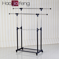 Durable stainless steel clothes hanger extendable garment rack for coat with low price