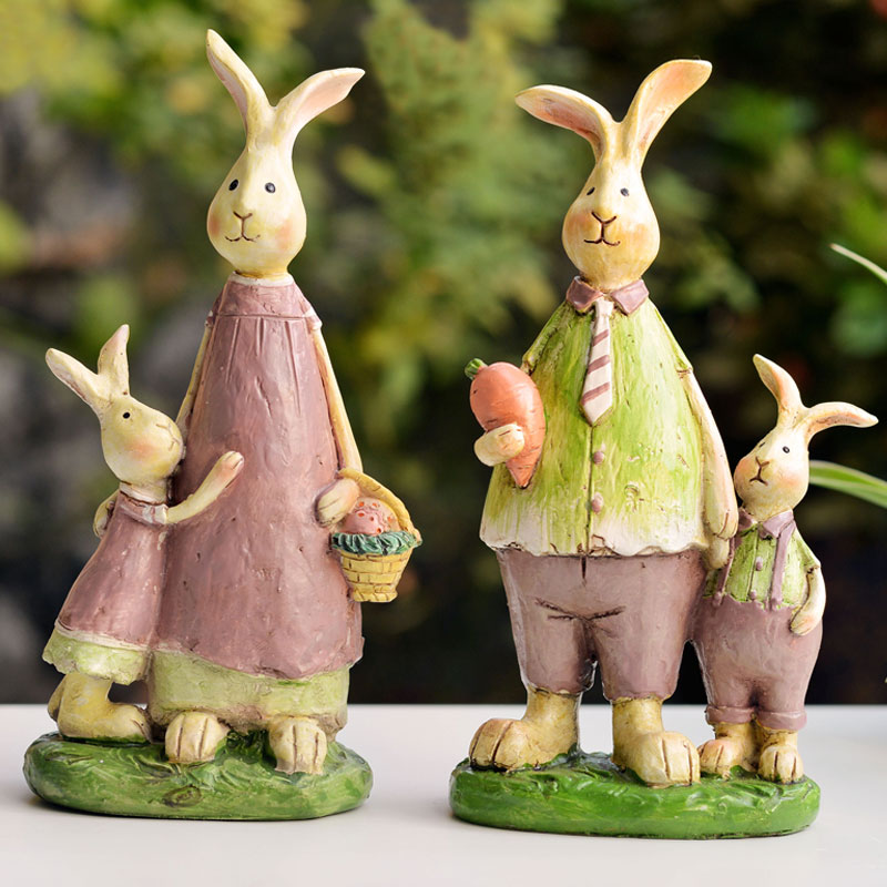 Handmade resin four pieces a set rabbit family crafts for kids gift