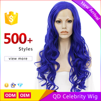 Celebrity Cosplay Synthetic Long Body Wave Blue Color Lace Front Synthetic Wigs