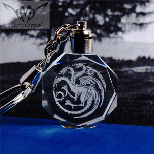 Led Light Crystal Round Dragon Keychain For Elegant Promotional Gifts