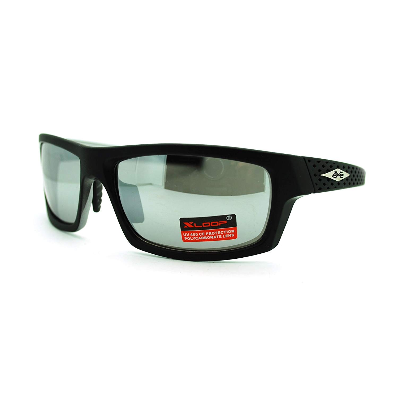 871c549fdb Get Quotations · X Loop Mens Biker Style Athlete Warp Plastic Sports  Sunglasses