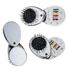 Top sales cheap personalized own logo printing oblong rotating plastic pocket sewing set hair brush and mirror set for children