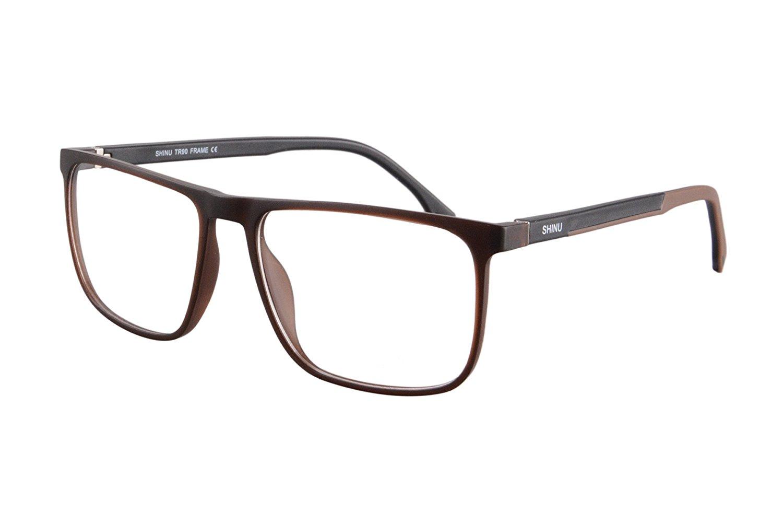 9c18f158993 Get Quotations · SHINU Mens Womens Rectangle Eyewear Frames Anti-Blue Light  Computer Reading Glasses-SH078