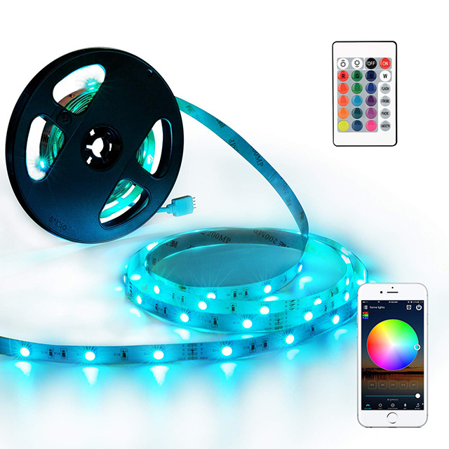 Working with Alexa iOS and Android Rope Lights led Remote Controller WiFi 5050 <strong>RGB</strong> Waterproof IP65 Flex LED Lights Strip