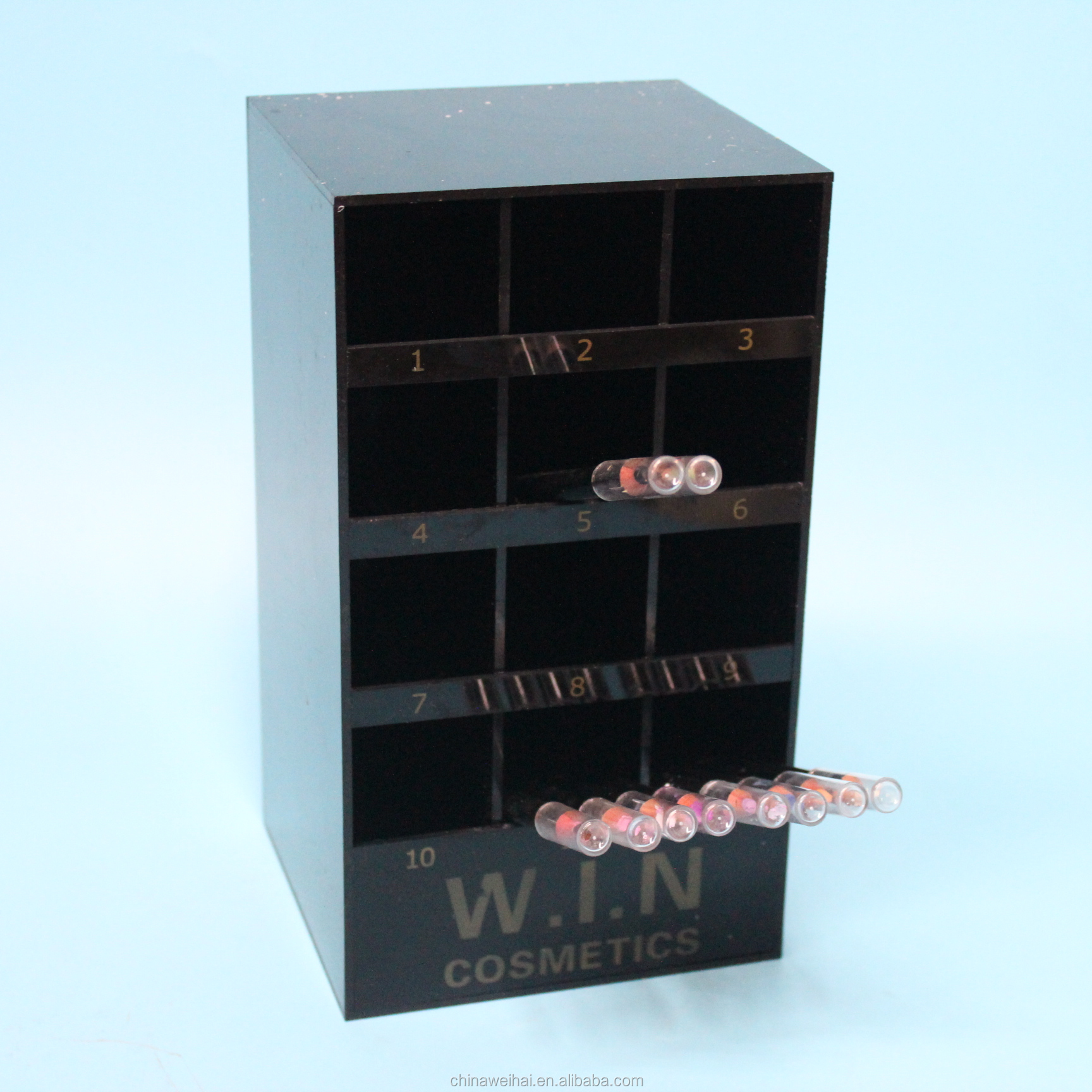WeiHai New Design Black Acrylic Lip Line  Pencil Display Stand