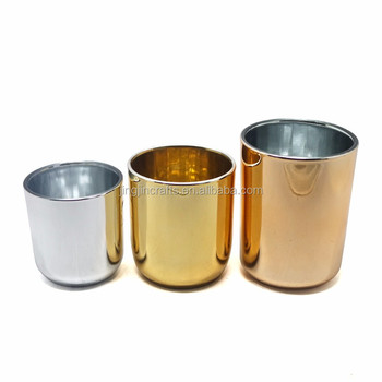 Electroplated glass candle container with gold metal lid