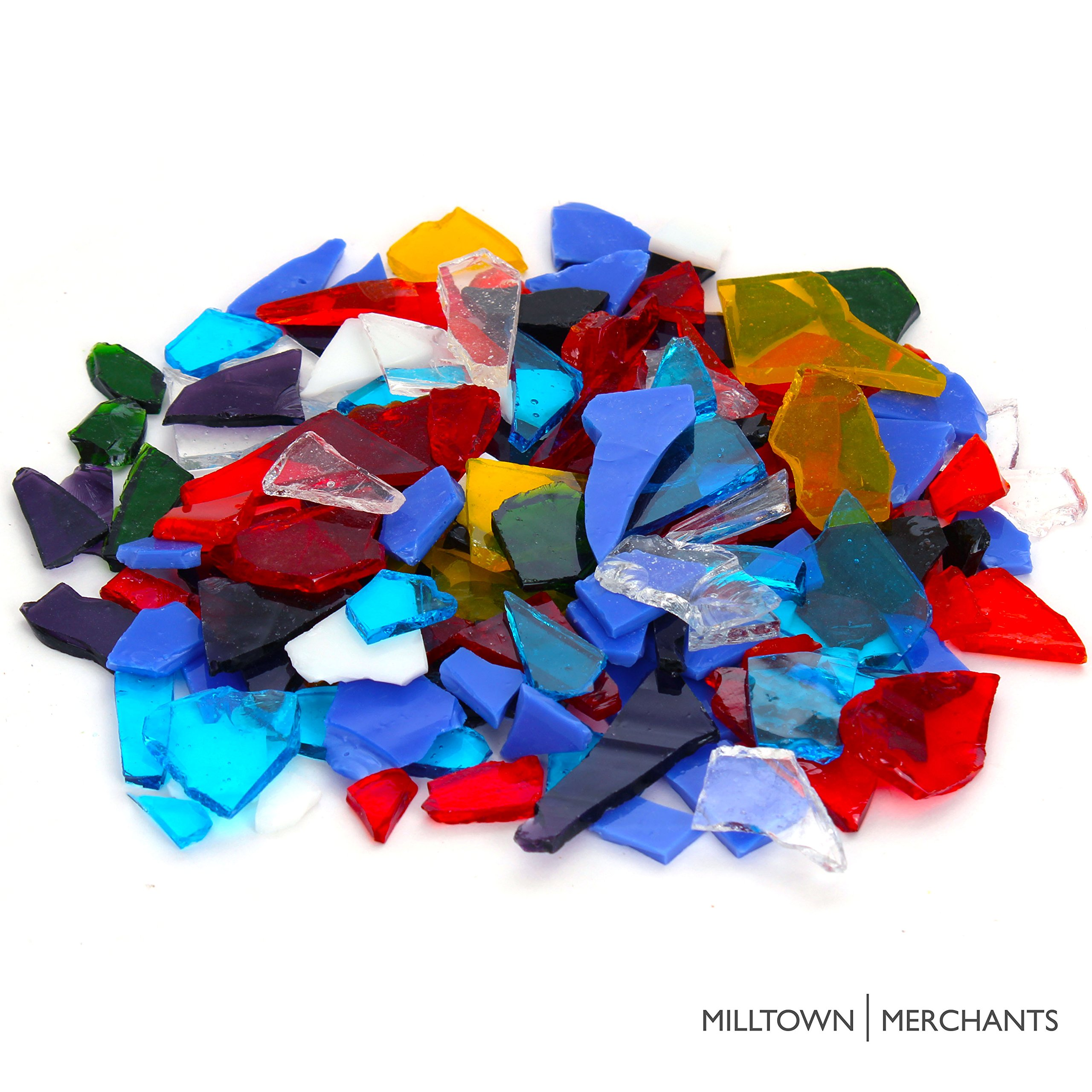 Milltown Merchants™ Stained Glass 10 lb Value Pack - Bright Stained Glass Assortment - Broken Glass for Stepping Stones and Crafts - Mixed Color Glass Coblets