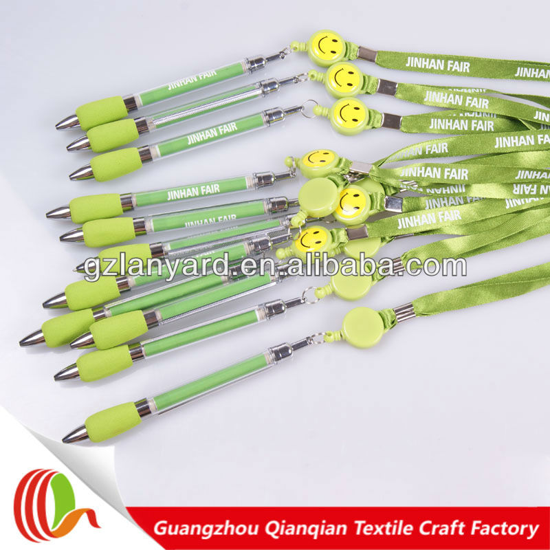 Attractive decorative nylon lanyard silk screen printed lanyard pen for promotion