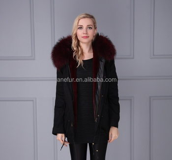 620e383cf2 Janefur Plus Size Jacket Parka With Fake Fur Lining Luxury Colorful Raccoon  Fur Hood