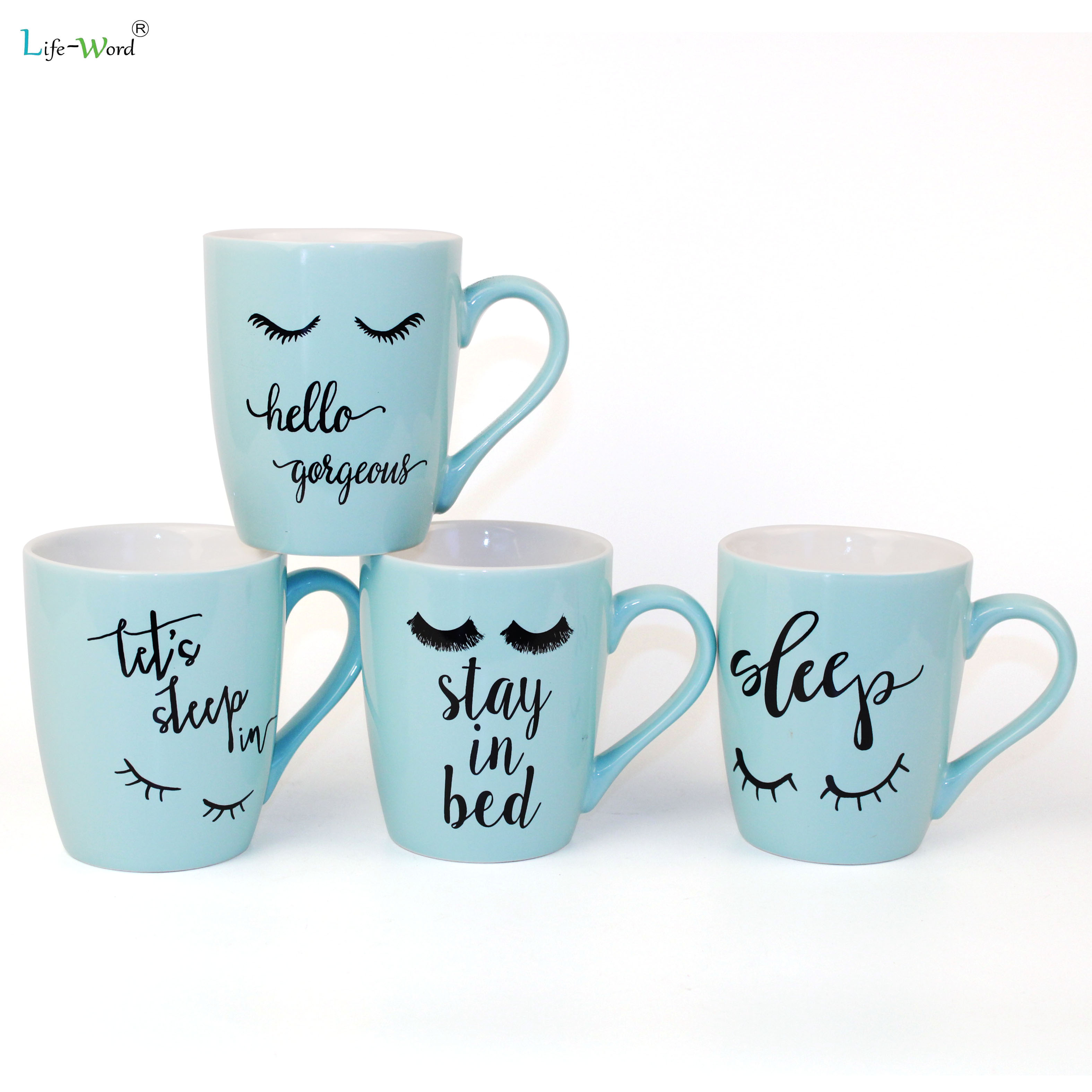 Promotional Gift Ceramic Coffee Tea Cup And Plates with simple logo design