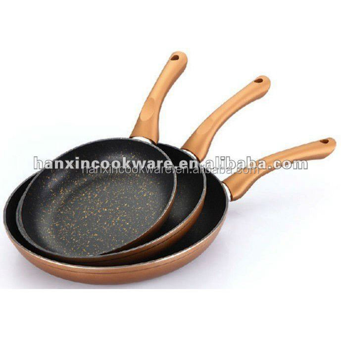 Copper color coating frying Pan with stone Marble non-stick cookware