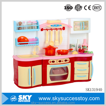 Suit children wholesale girl cupboard toys kitchen play for Cheap childrens kitchen sets