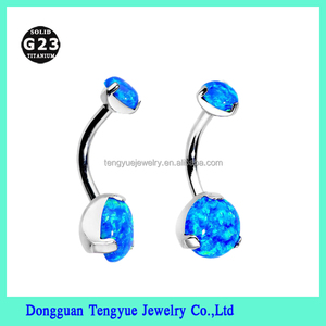 2017 New Design Titanium Belly Piercing Magnetic Fake Navel Ring with Opal Set