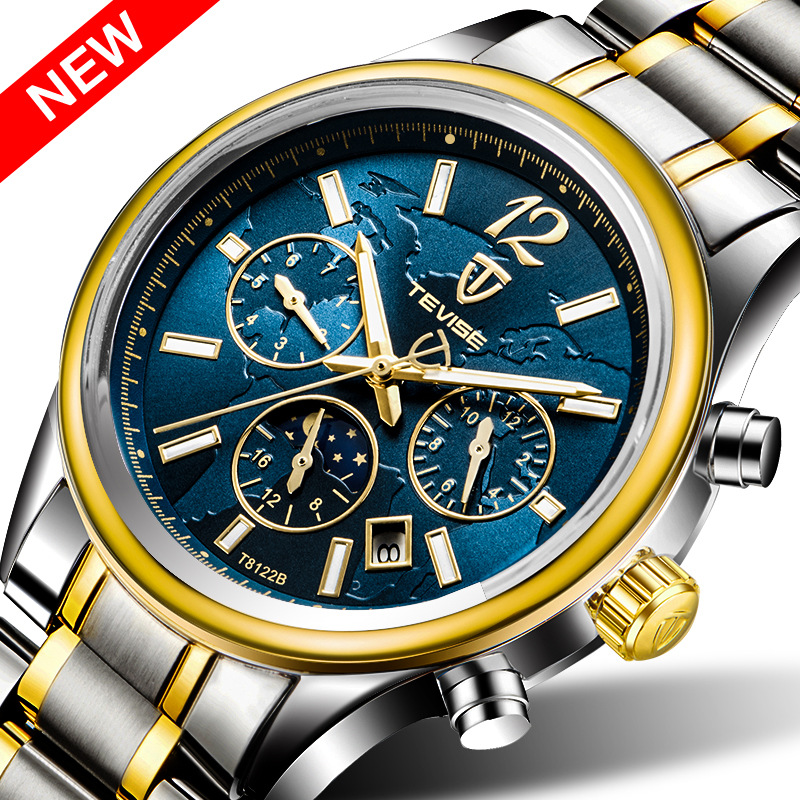 Tevise New Brand T8122B Men's Leisure Blue Automatic Watch With A Waterproof Function wholesale automatic watches, Any color are available