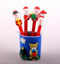 CY349 Cute Christmas Santa Claus Ballpoint Pen 0.7mm Soft ceramic Black Ball Pen Christmas gifts Office School Supplies
