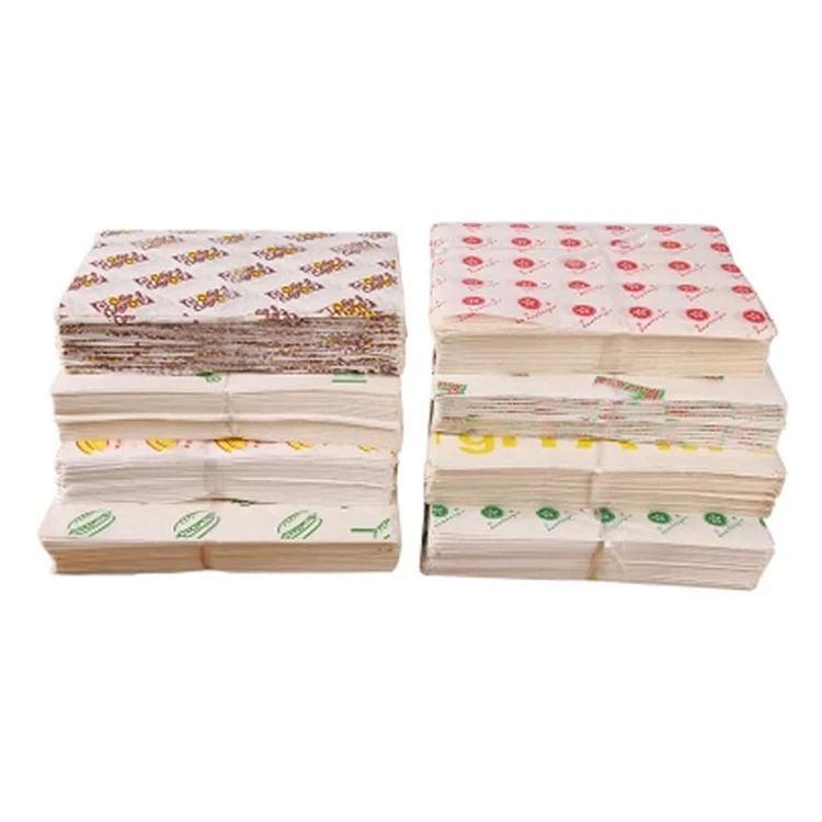 wholesale custom food grade printed burger wrapping paper for burger wrap
