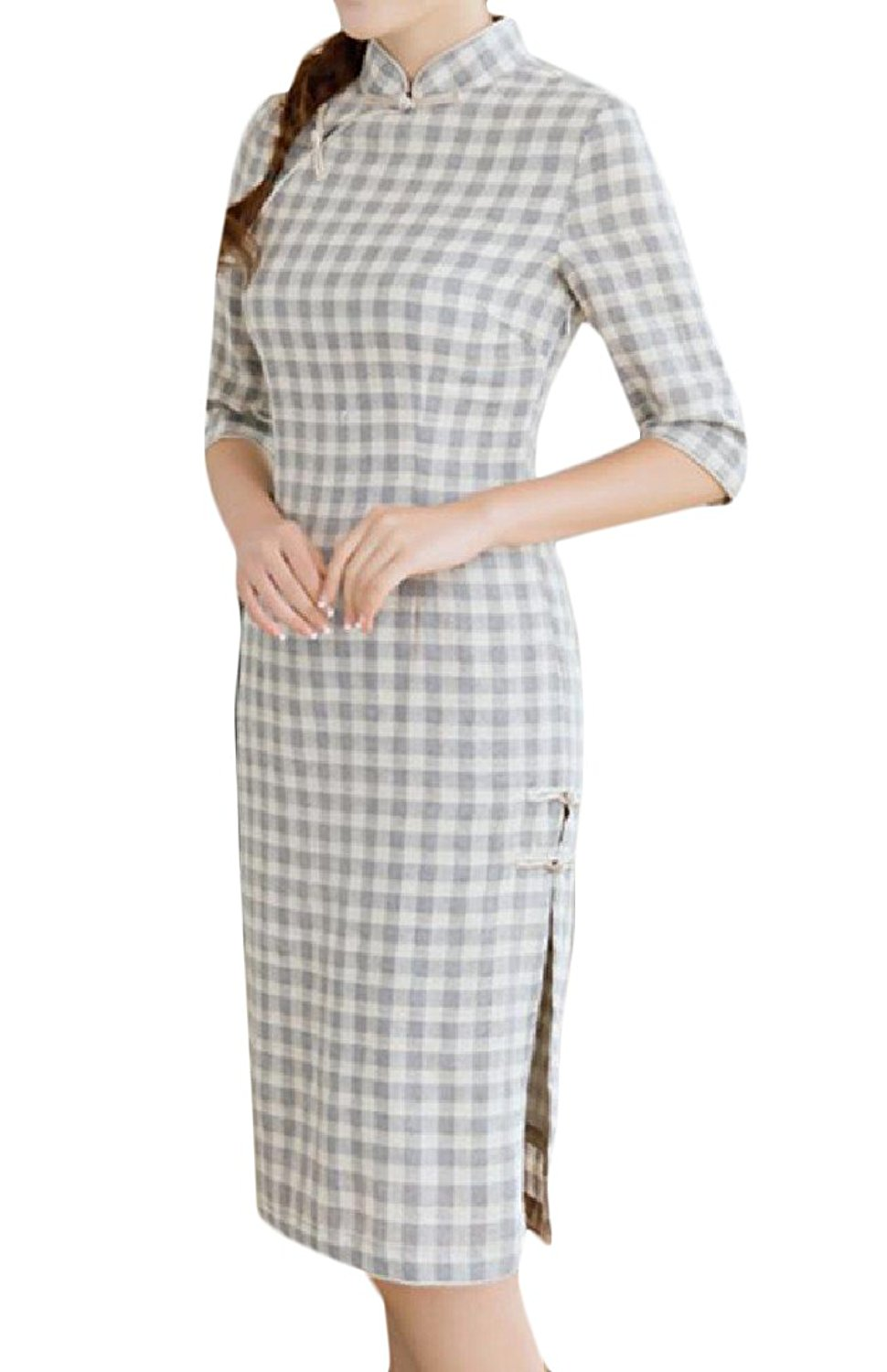 GodeyesWomen Godeyes Womens Plaid Cut Out Linen Buckle Decorated Chinese Prom Dress