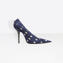 Extreme flat pointed toe knife pumps thin high heel dress shoes covered with draped silk polka dots print