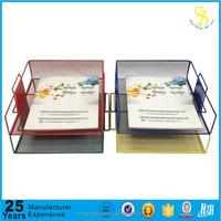 Colorful document tray folder holder metal wire mesh, metal mesh file holder