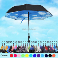 Windproof Reverse Folding Double Layer Inverted Umbrellas and Inside Out of Rain Umbrella with C-shaped Hands Free Handle