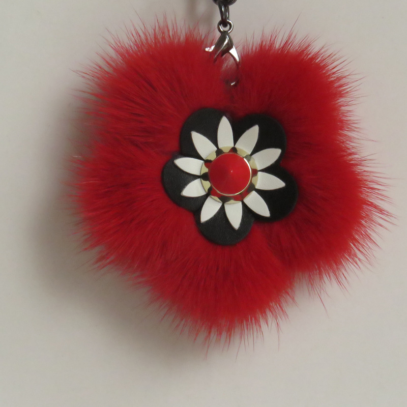 Top grade mink fur flower keychain charm with leather flower wholesale
