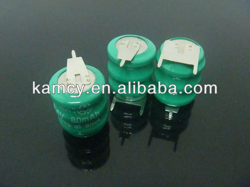 small rechargeable battery 3.6v nimh 80H button cells