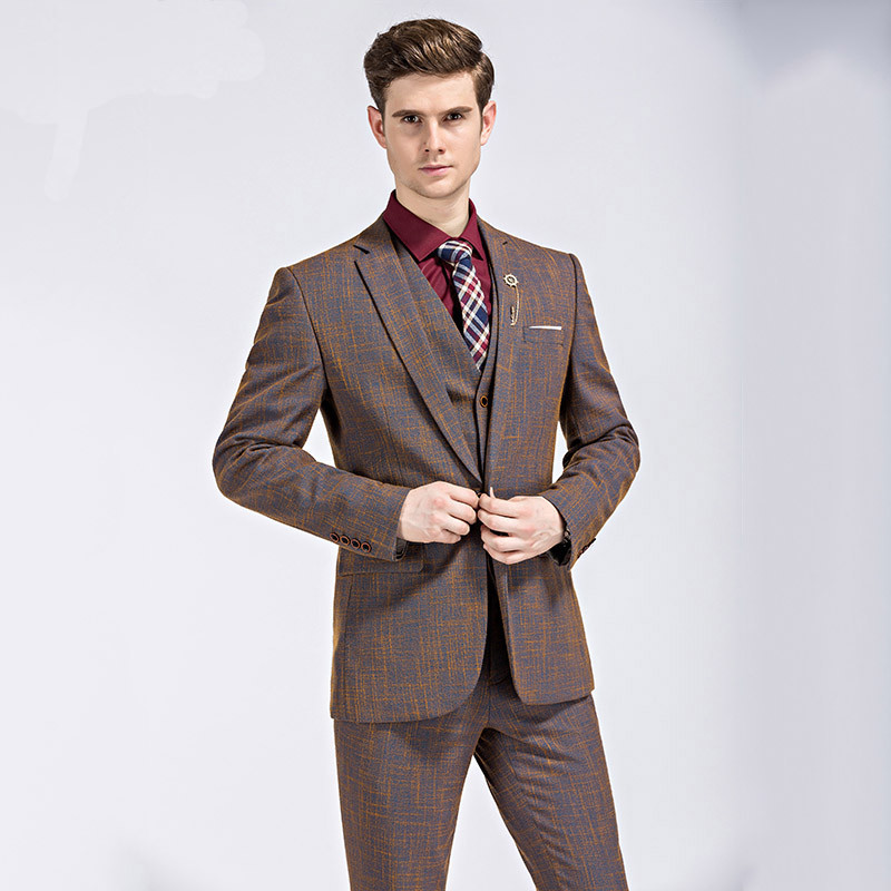 Wb016 Men Three Piece Brown Wedding Suit Size S-3xl 2017 England ...