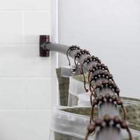 "QJMAX Wall Mounted 38""- 63"", Bronze Color Adjustable Curved Shower Curtain Rod"