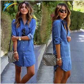 5c8ee66783 china factory wholesale casual women long sleeve denim shirts dresses ladies  long denim tops blouse